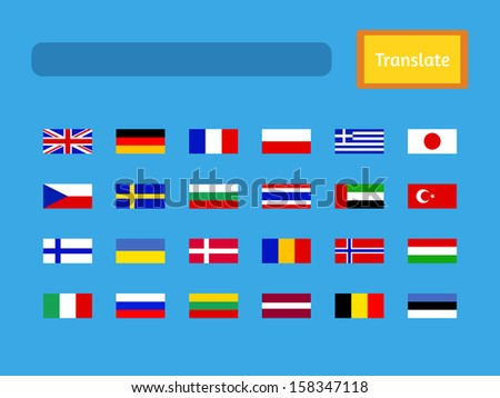 Raster interface of mobile translator application. Contains set of flags, such as United Kingdom, Germany, France, Poland, Greece, Japan, Czech Republic, Sweden and many others.