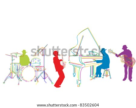 Raster. Jazz band sketch, isolated and grouped over white background