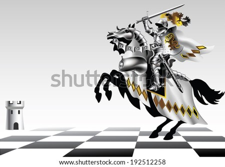 Raster, Knight with a sword in white on a chessboard on a white background - stock photo
