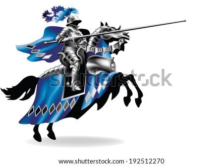 Raster,  Knight with lance on horse left on white background - toned in robes - stock photo