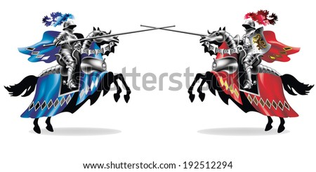 Raster, Knight with lance on horse on white background left and right - toning in robes - stock photo