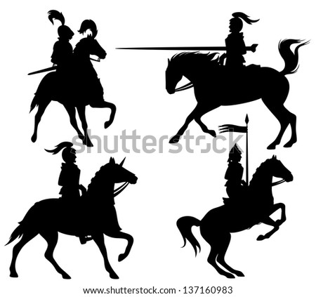 raster - knights and horses fine silhouettes - black outlines over white (vector version is available in my portfolio)