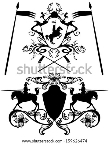 raster - knights heraldic design elements - black and white detailed silhouettes (additional format also available) - stock photo