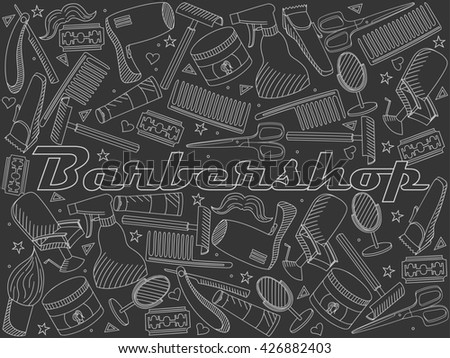 Raster line art Doodle set of cartoon characters and objects Barbershop. Hairdressing salon chalk