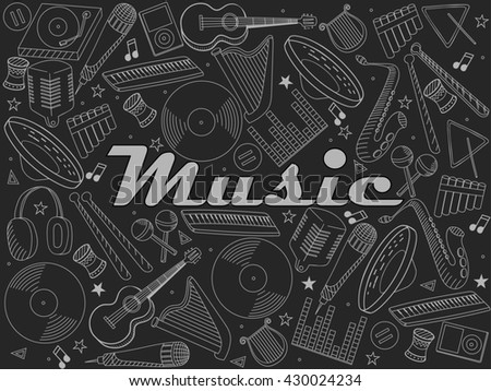 Raster line art Doodle set of cartoon characters and objects music instruments. Chalk illustration - stock photo
