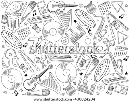 Raster line art Doodle set of cartoon characters and objects music instruments. Coloring book - stock photo
