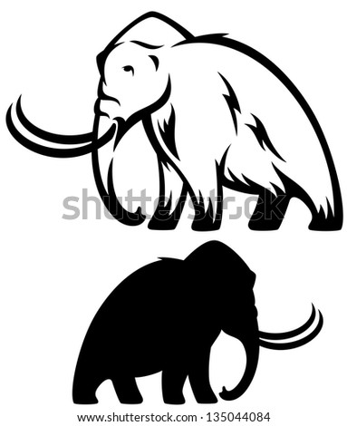 raster - mammoth illustration - prehistoric elephant black and white outline and silhouette (vector version is available in my portfolio) - stock photo