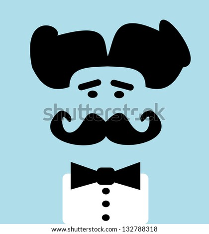 raster man with bow tie and wild hair - stock photo