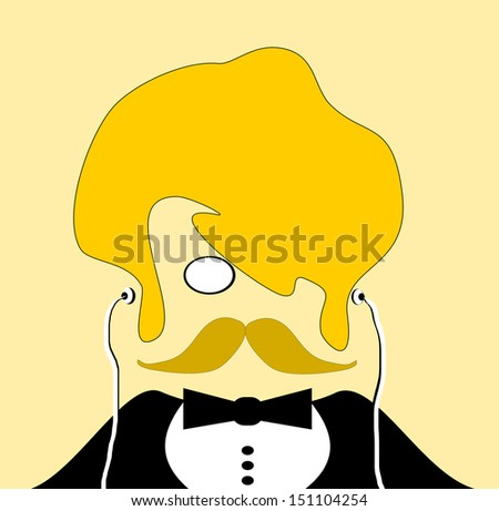 raster man with bushy blond hair and tuxedo - stock photo