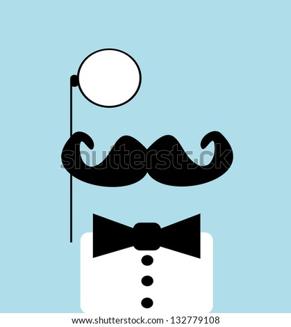 raster man with monocle and bow tie - stock photo