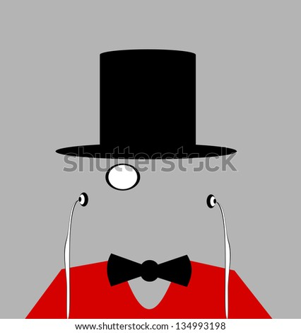 raster man with top hat and monocle - stock photo