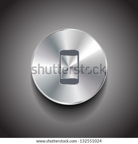 Raster metal smart phone button - stock photo