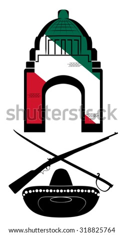 Raster Mexican Symbols on White Background - stock photo