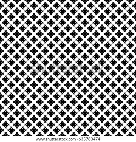 Raster monochrome seamless pattern, simple geometric texture, black figures on white backdrop. Abstract repeat background for tileable print. Design for decoration, textile, fabric, cloth, digital