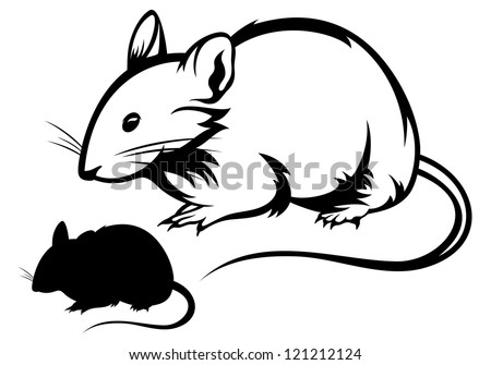 raster - mouse black and white outline and silhouette (vector version is available in my portfolio) - stock photo