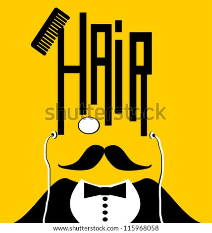 raster of man with monocle and earphones with hair and comb design - stock photo