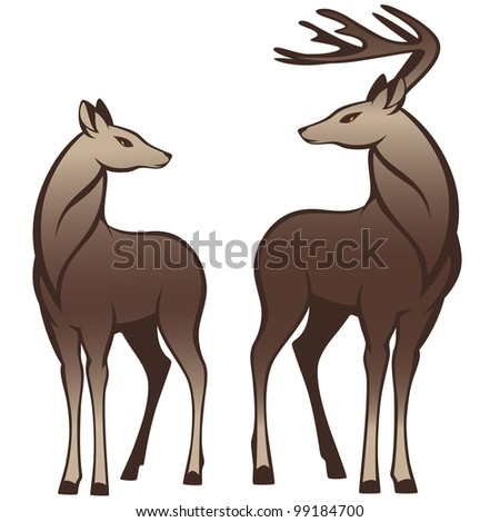 raster - pair of beautiful deers looking at each other (vector version is available in my portfolio) - stock photo