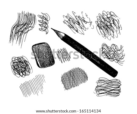 Raster pencil and scribbles. Sketch collection - stock photo
