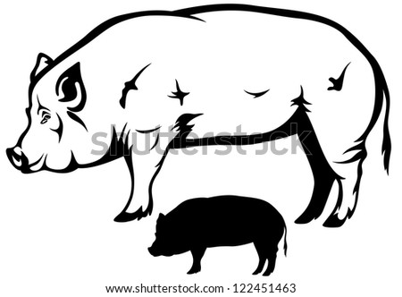 raster - pig black and white outline and silhouette (vector version is available in my portfolio)