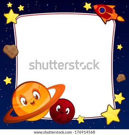 Raster Planet Frame - stock photo