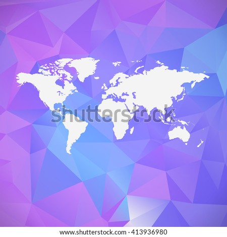 Raster polygon world map background. Can be used as website background or for presentation - stock photo