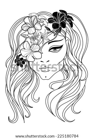 RASTER portrait of woman with flower in long hair - stock photo