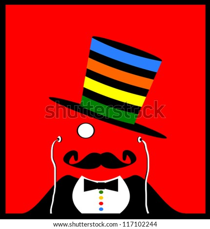 raster retro gentleman with monocle and modern earphones wearing colorful top hat - stock photo