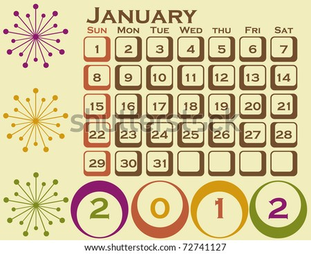 Raster 2012 Retro Style Calendar Set 1 January - stock photo