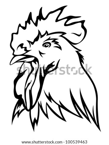 raster - rooster head illustration - black outline against white (vector version is available in my portfolio)