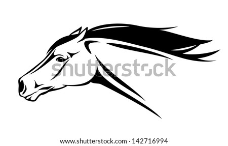 raster - running horse head illustration - black and white realistic outline (vector version is available in my portfolio) - stock photo