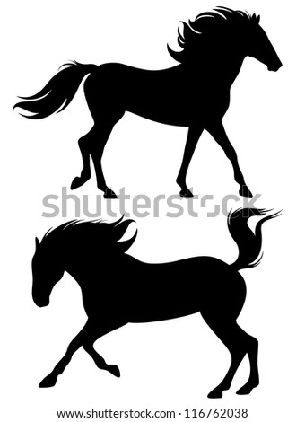 raster - running horses - fine silhouettes - black outlines against white (vector version is available in my portfolio)