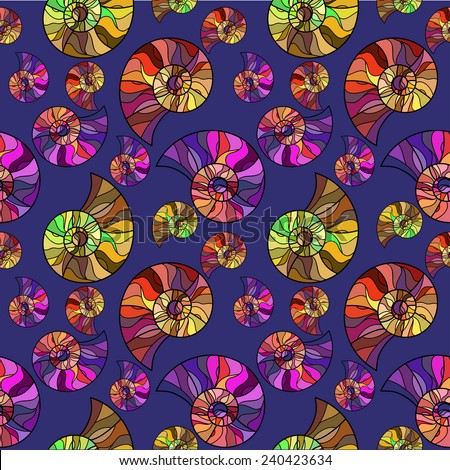 Raster Seamless abstract hand-drawn ornament pattern with colorful snails. Seamless pattern can be used for wallpaper, pattern fills, web page background, surface textures.  - stock photo