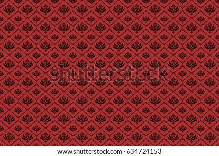 Raster seamless damask pattern, classic wallpaper, background. Ornamental patter in black and red colors.