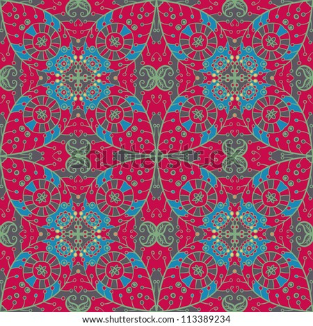 raster seamless floral pattern background - stock photo