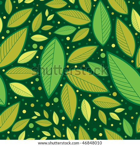 "RASTER Seamless green floral pattern with leafs (From my big ""Seamless collection"")"