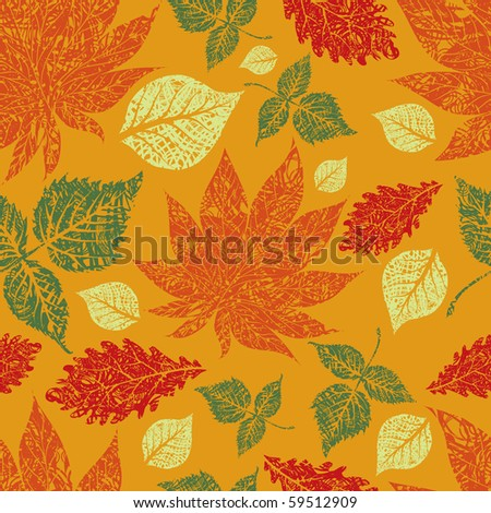 "RASTER Seamless grunge autumn leaves background. Thanksgiving (from my big ""Seamless collection"")"