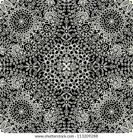 raster seamless hand drawn floral pattern background