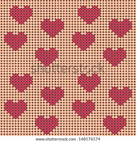 Raster seamless pattern, a scheme for beadwork with a heart ornament. - stock photo