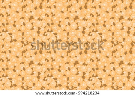Raster seamless pattern. Greeting card with beige roses, watercolor, can be used as invitation card for wedding, birthday and other holiday and summer background.