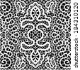 Raster seamless pattern, hand drawn sketch background, retro floral and geometric ornament, lace texture, abstract decoration black and white - stock photo
