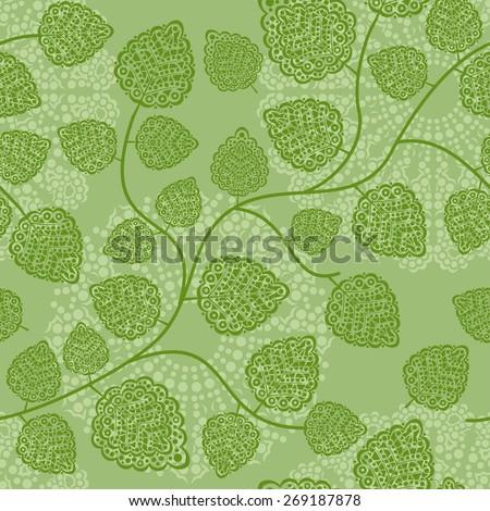raster seamless pattern: spring foliage - stock photo