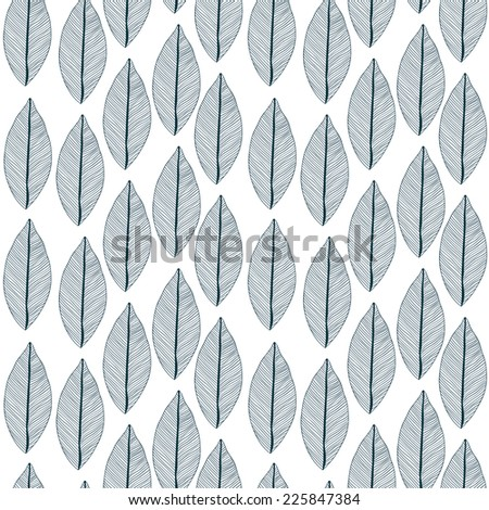 Raster seamless pattern with leaves. Can be used as adult coloring book, coloring page. Foliage