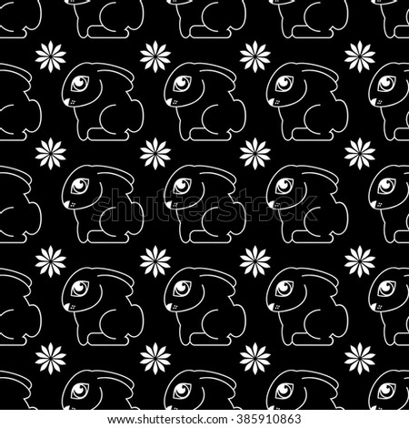 Raster seamless pattern with rabbits. Raster clip art.