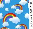 Raster. Seamless rainbow background - stock photo
