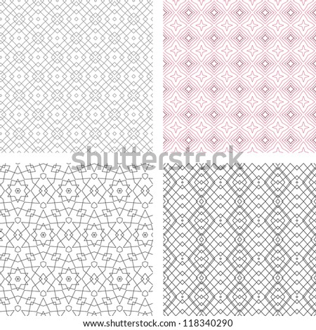 raster seamless set of abstract line floral pattern background