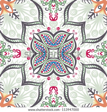 raster seamless vintage floral pattern background - stock photo