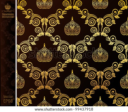 raster seamless wallpaper gold black vintage background. looking for a copy of the vector in my portfolio - stock photo
