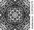 raster seamless white and black floral pattern background - stock photo