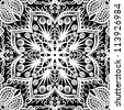 raster seamless white and black vintage floral pattern background - stock photo