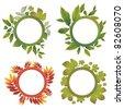 RASTER set of autumn leafs - design elements. Thanksgiving - stock photo